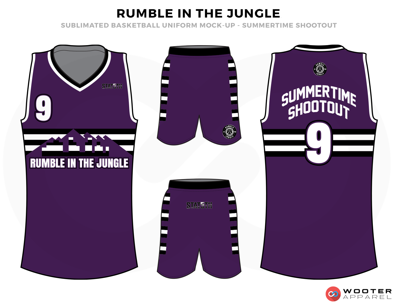 RUMBLE IN THE JUNGLE Purple White and Basketball Uniforms, Jersey and Shorts