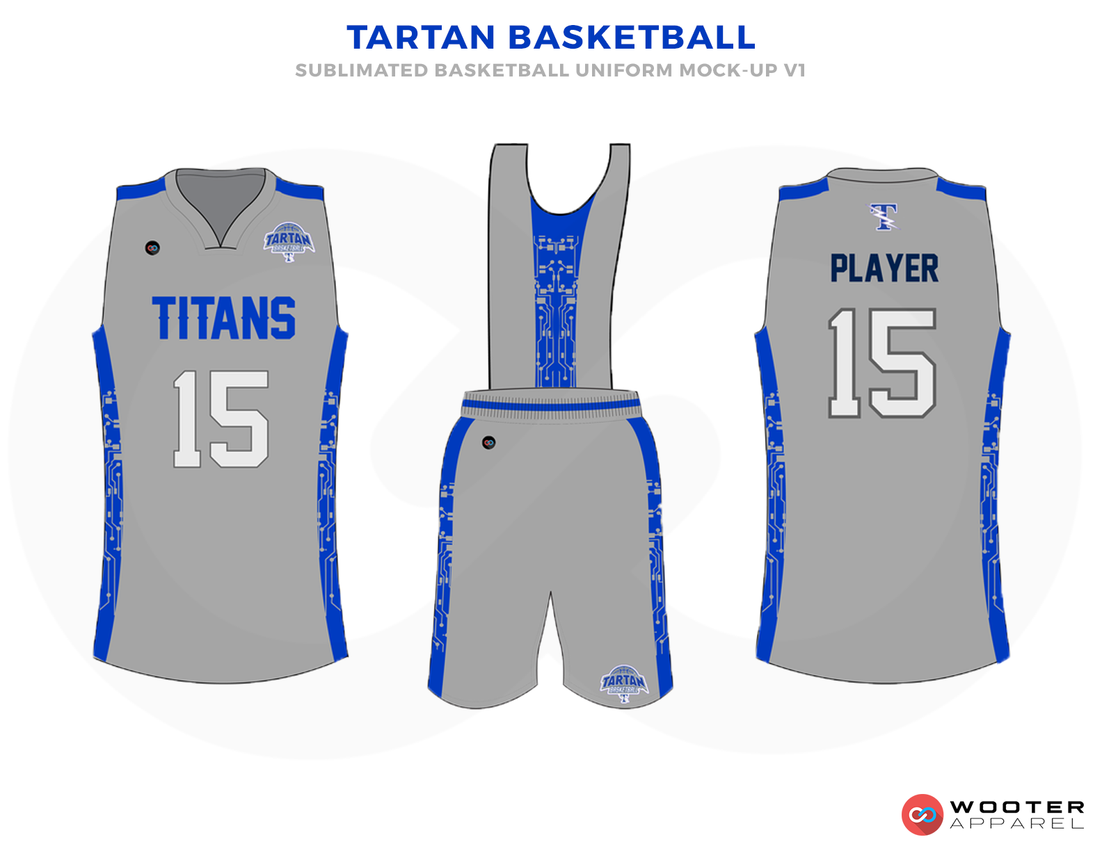 TARTAN BASKETBALL Grey Blue and White Basketball Uniforms, Jersey and Shorts