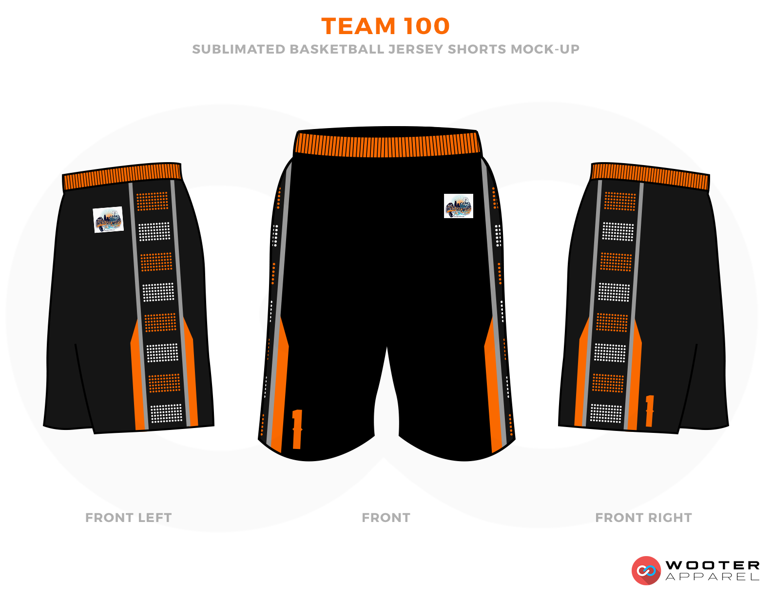 TEAM 100 Black Orange Brown and White Basketball Uniforms, Jersey and Shorts
