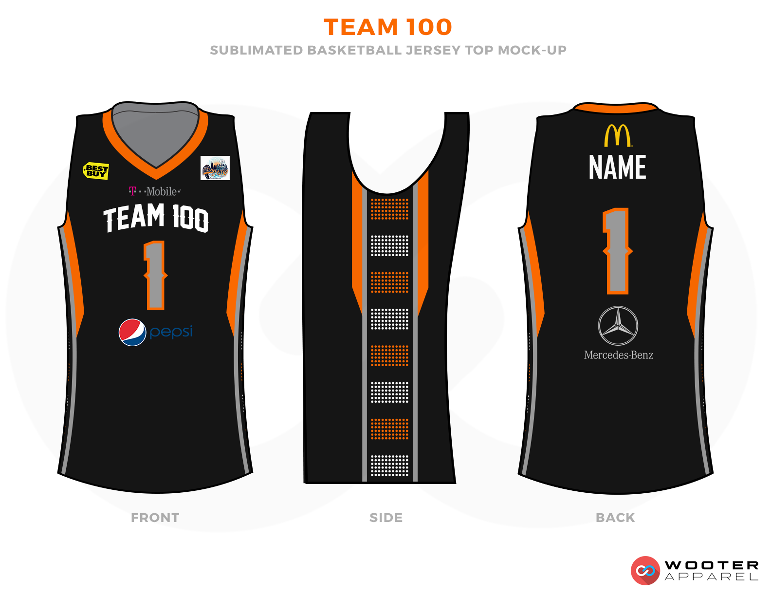 TEAM 100 Black Orange Brown Yellow Red Blue and White Basketball Uniforms, Jersey and Shorts