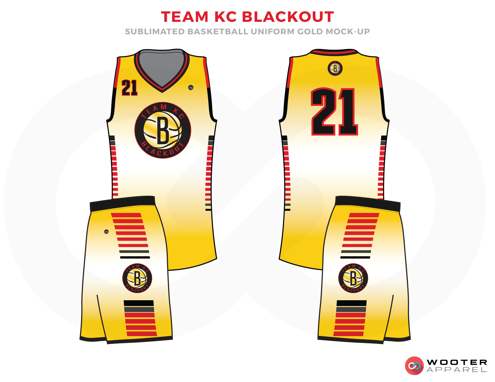 TEAM KC BLACKOUT Yellow Black Red Blue Grey and White Basketball Uniforms, Jersey and Shorts