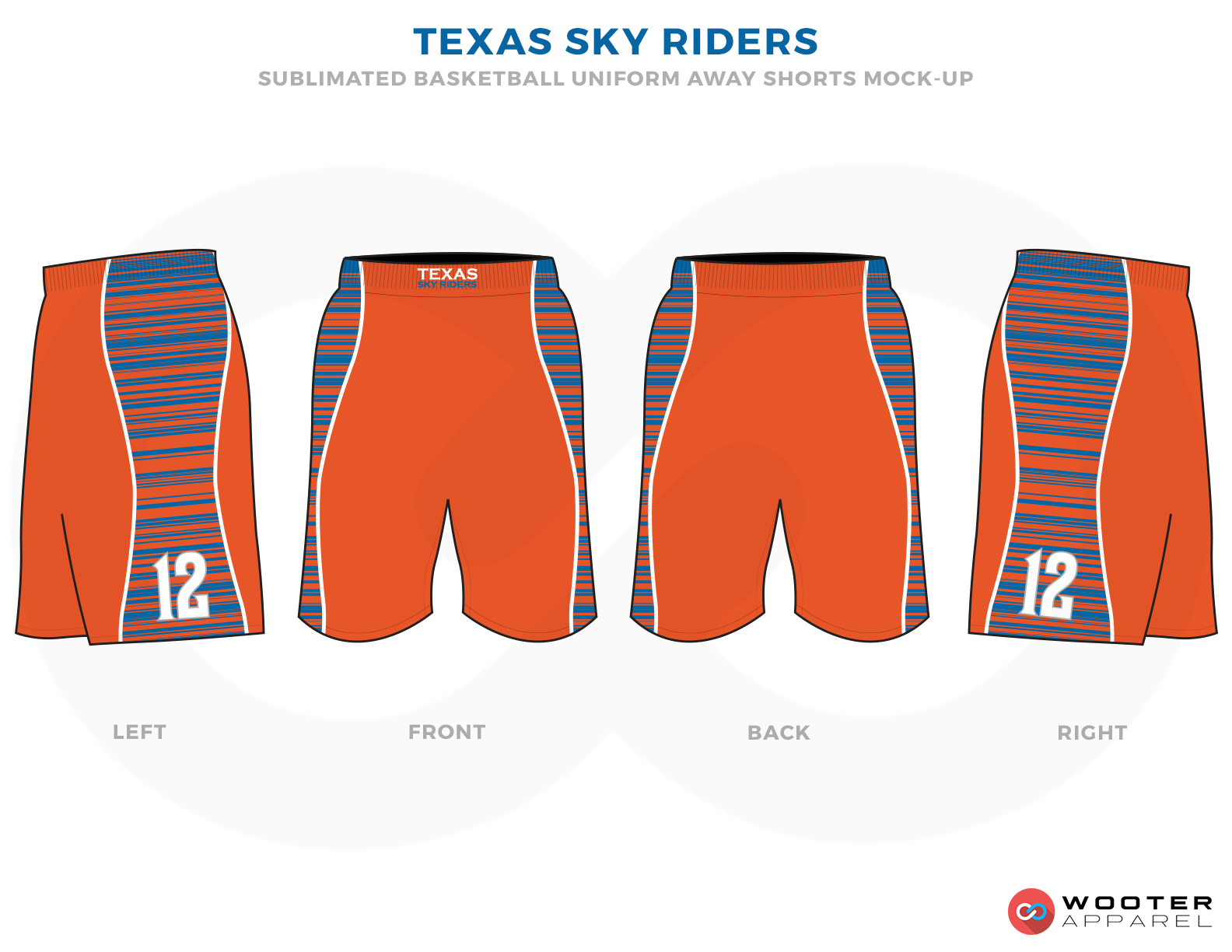 TEXAS SKY RIDERS Orange  Blue and White Basketball Uniforms, Shorts