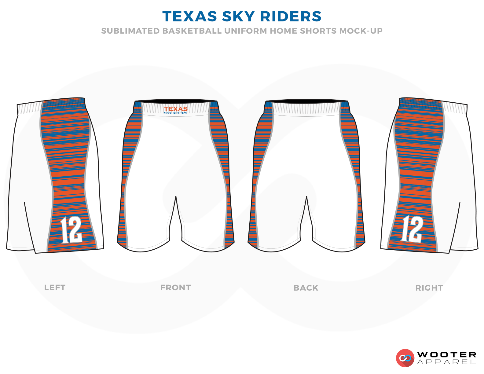 TEXAS SKY RIDERS White Orange and Blue Basketball Uniforms, Shorts
