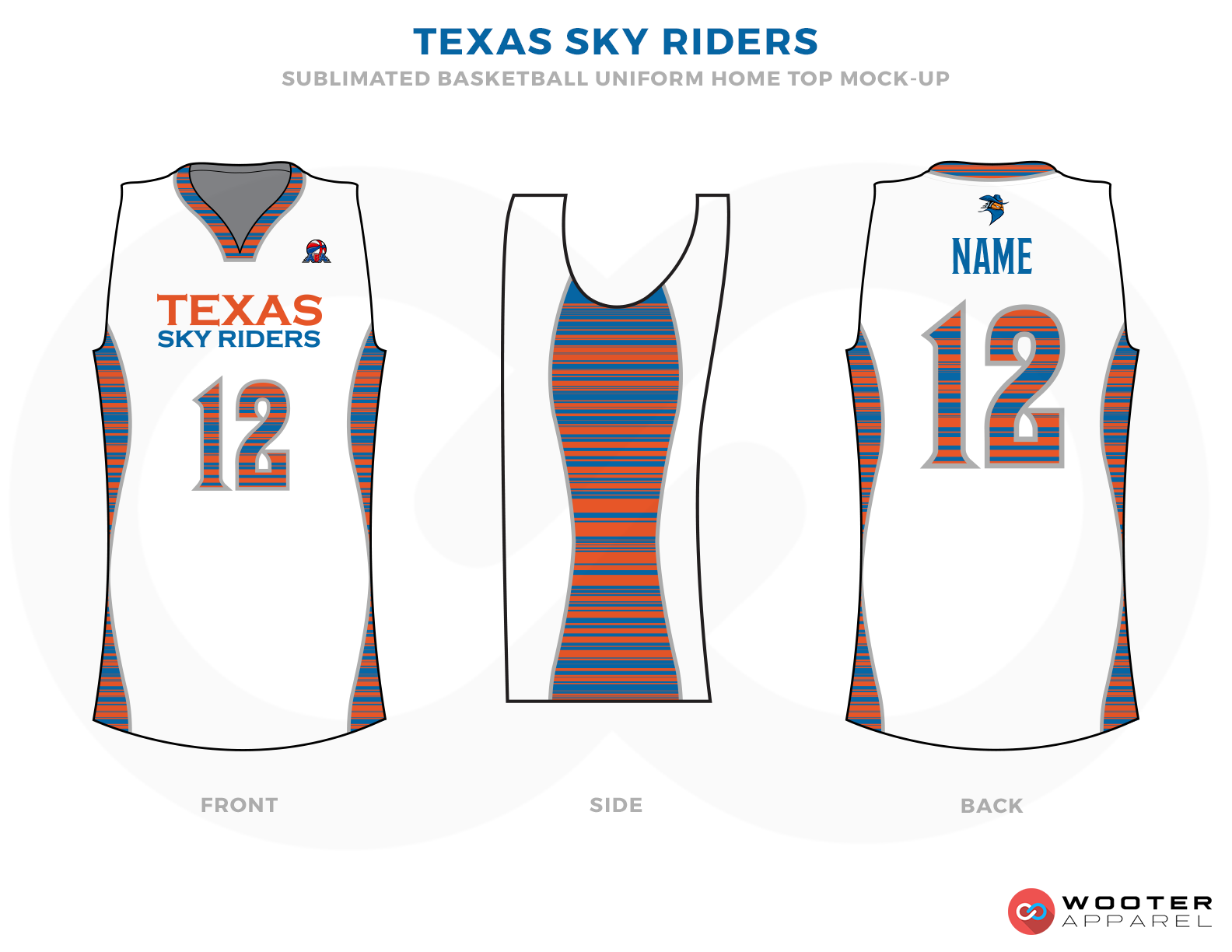 TEXAS SKY RIDERS White Orange and Blue Basketball Uniforms, Shirts