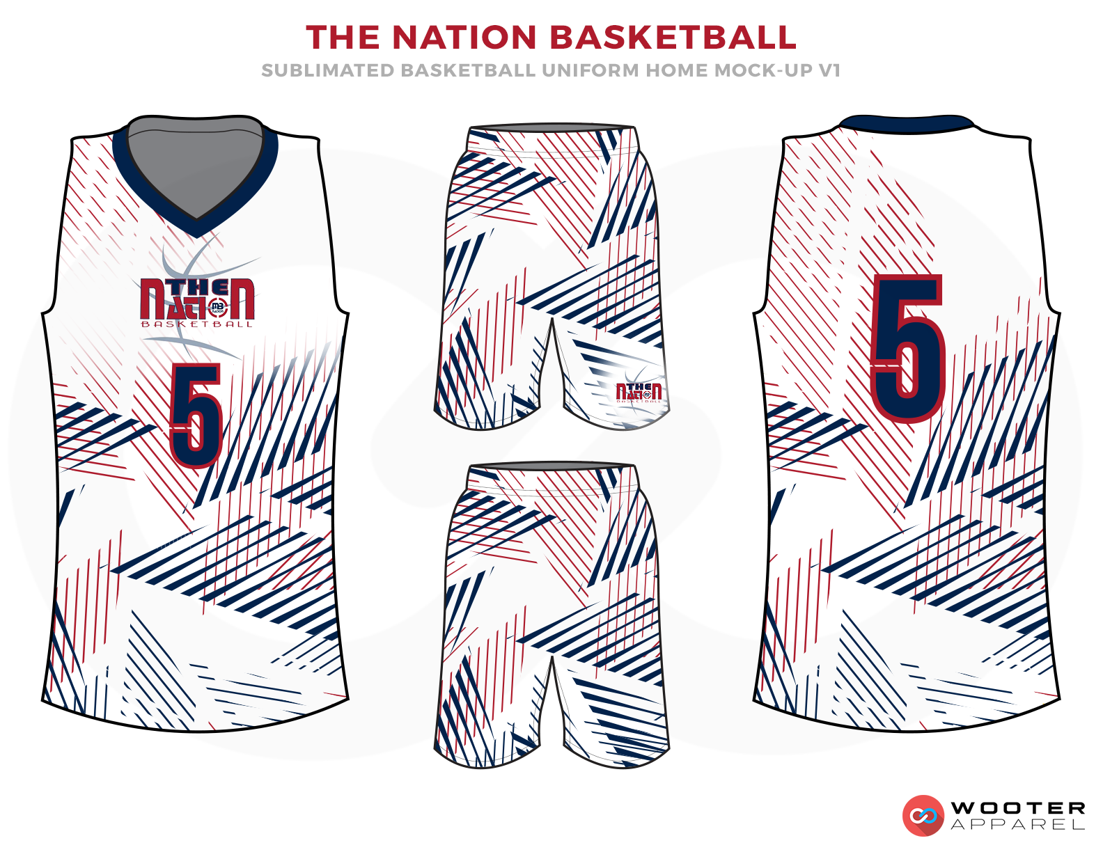THE NATION BASKETBALL White Blue and Red Basketball Uniforms, Jersey and Shorts