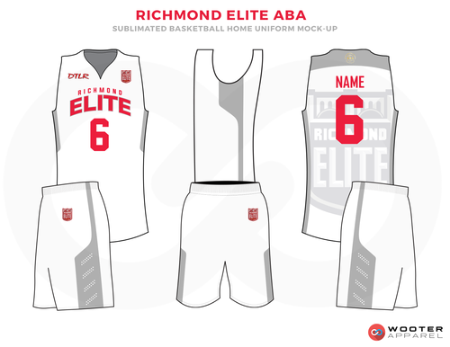 RICHMOND ELITE ABA White Red and Grey Basketball Uniforms, Jersey and Shorts
