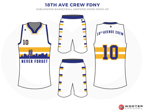 18TH AVE CREW FDNY White Yellow and Blue Basketball Uniforms, Jersey and Shorts