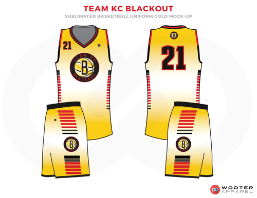 TEAM KC BLACKOUT White Black Red Blue and Yellow Basketball Uniforms, Jersey and Shorts