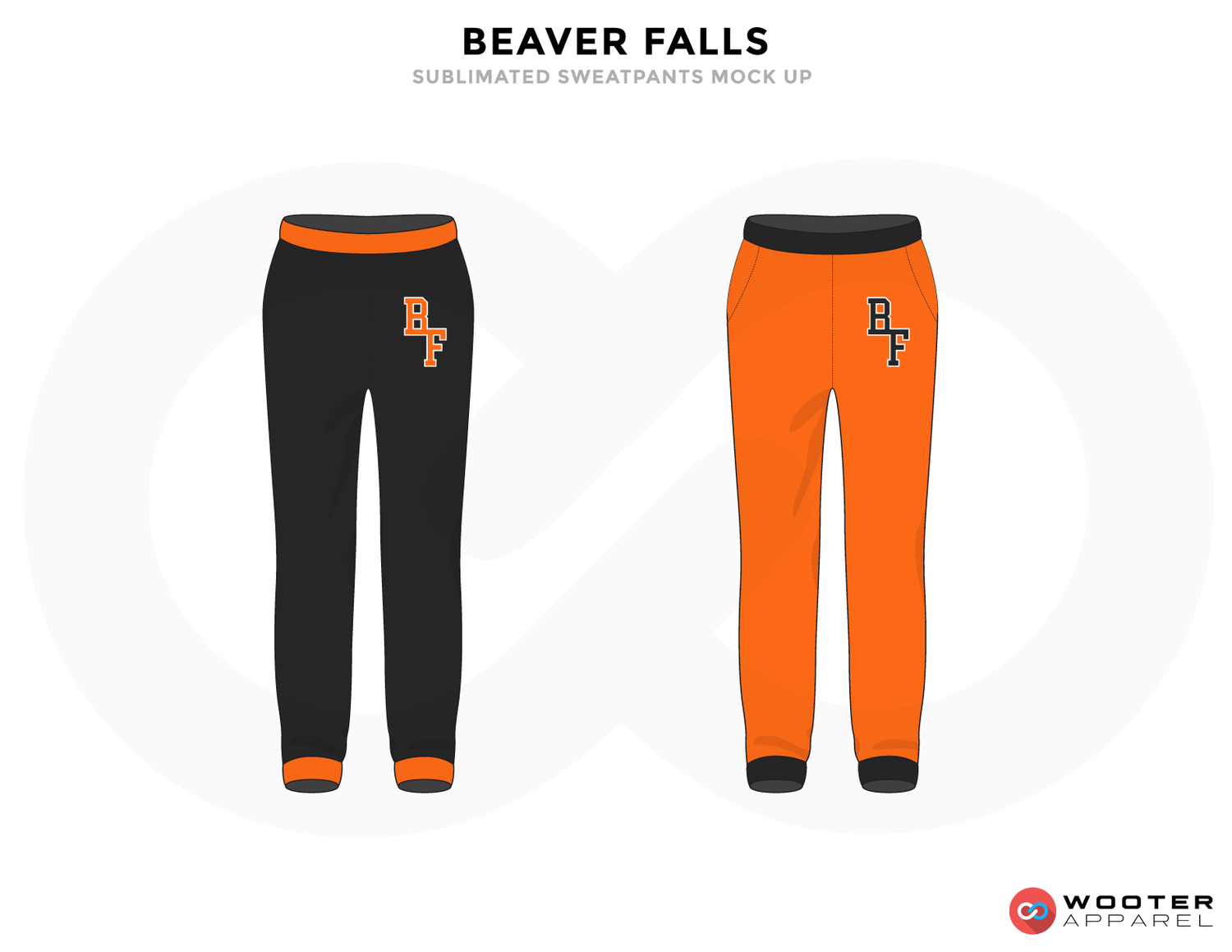 BEAVER FALLS Black Orange and Grey Baseball Uniforms, Pants