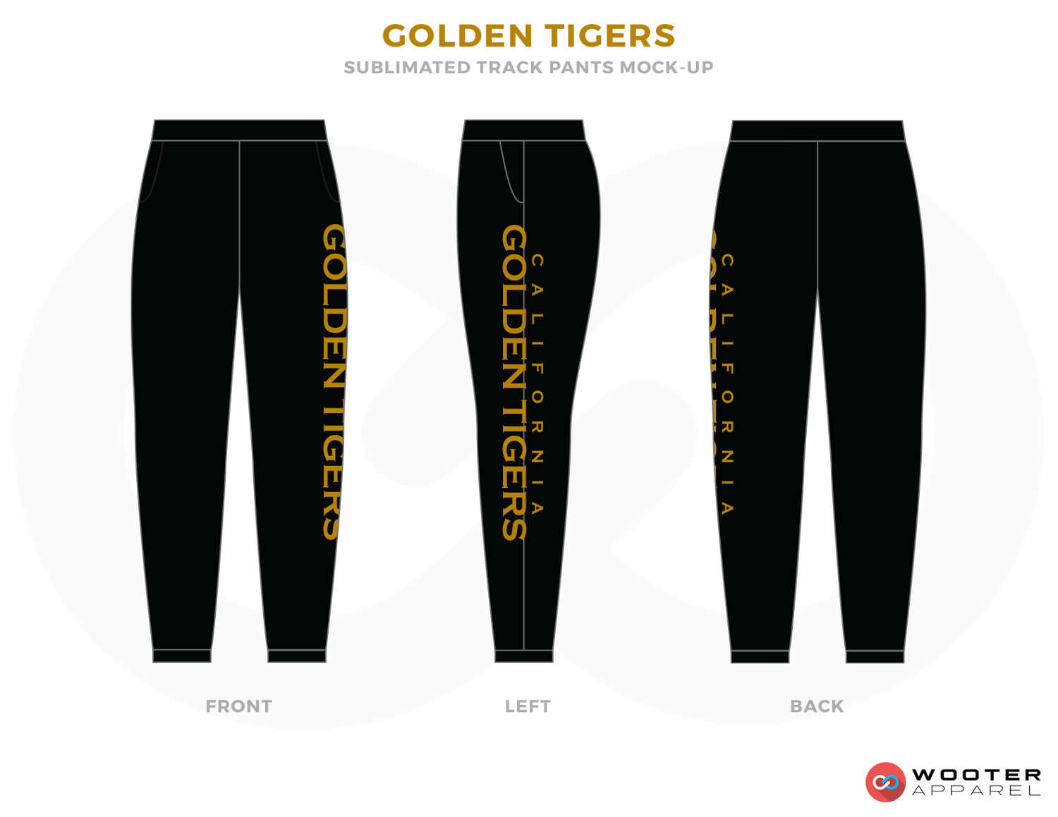 GOLDEN TIGERS Black and Golden Baseball Uniforms, Pants