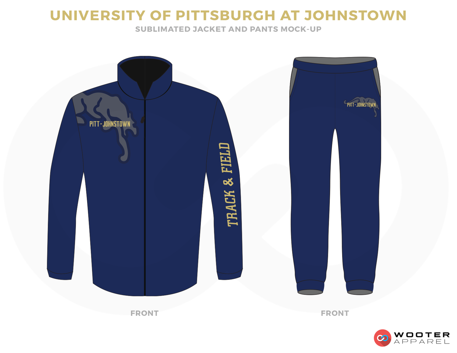 UNIVERSITY OF PITTSBURGH AT JOHNSTOWN Blue Vegas Gold and Grey Baseball Uniforms, Jacket and Pants