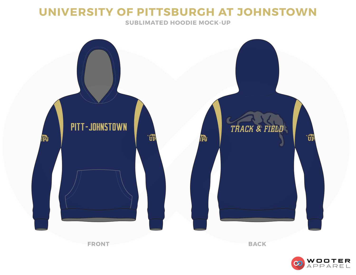 UNIVERSITY OF PITTSBURGH AT JOHNSTOWN Blue Vegas Gold and Grey Baseball Uniforms, Hoodies