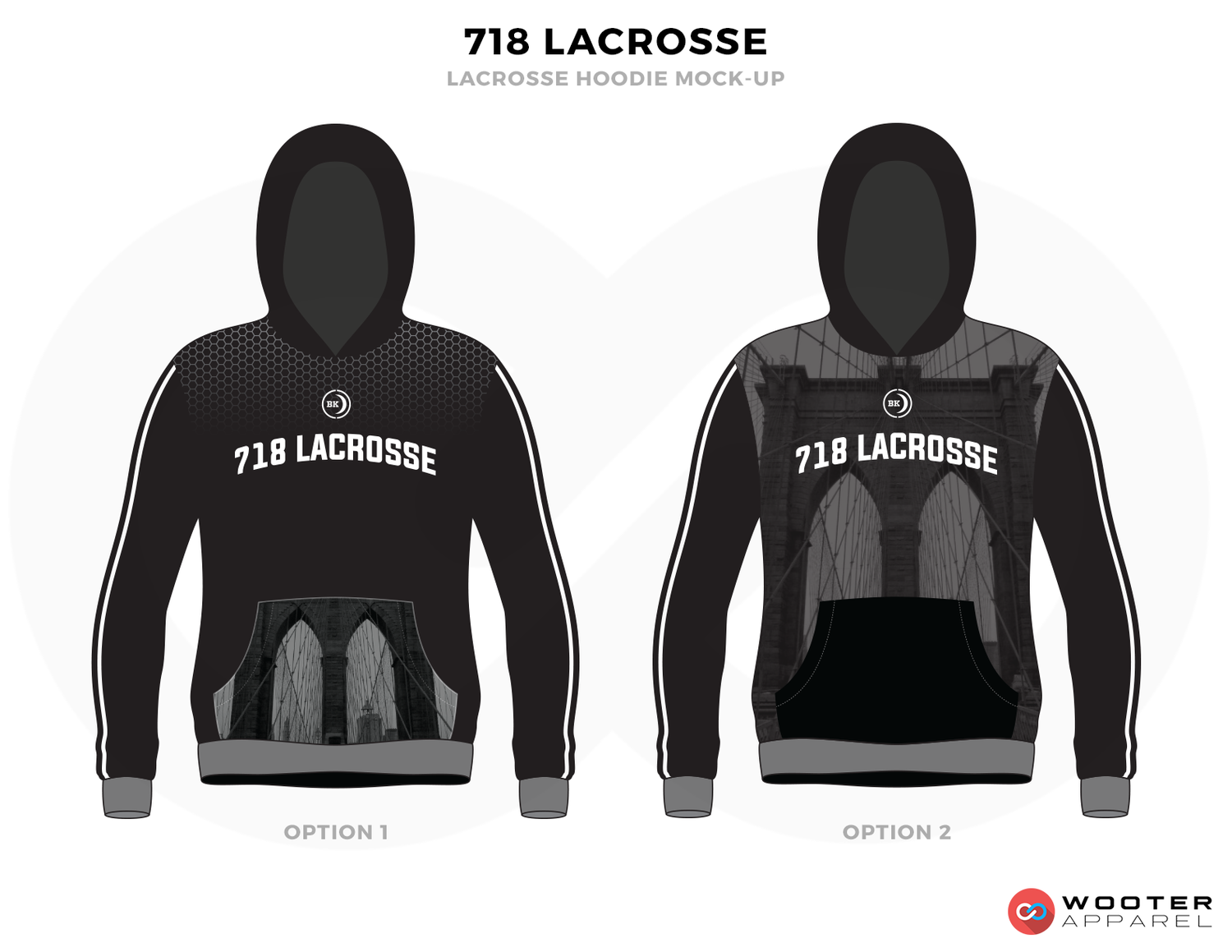 718 LACROSSE Black Grey and White Baseball Uniforms, Hoodies