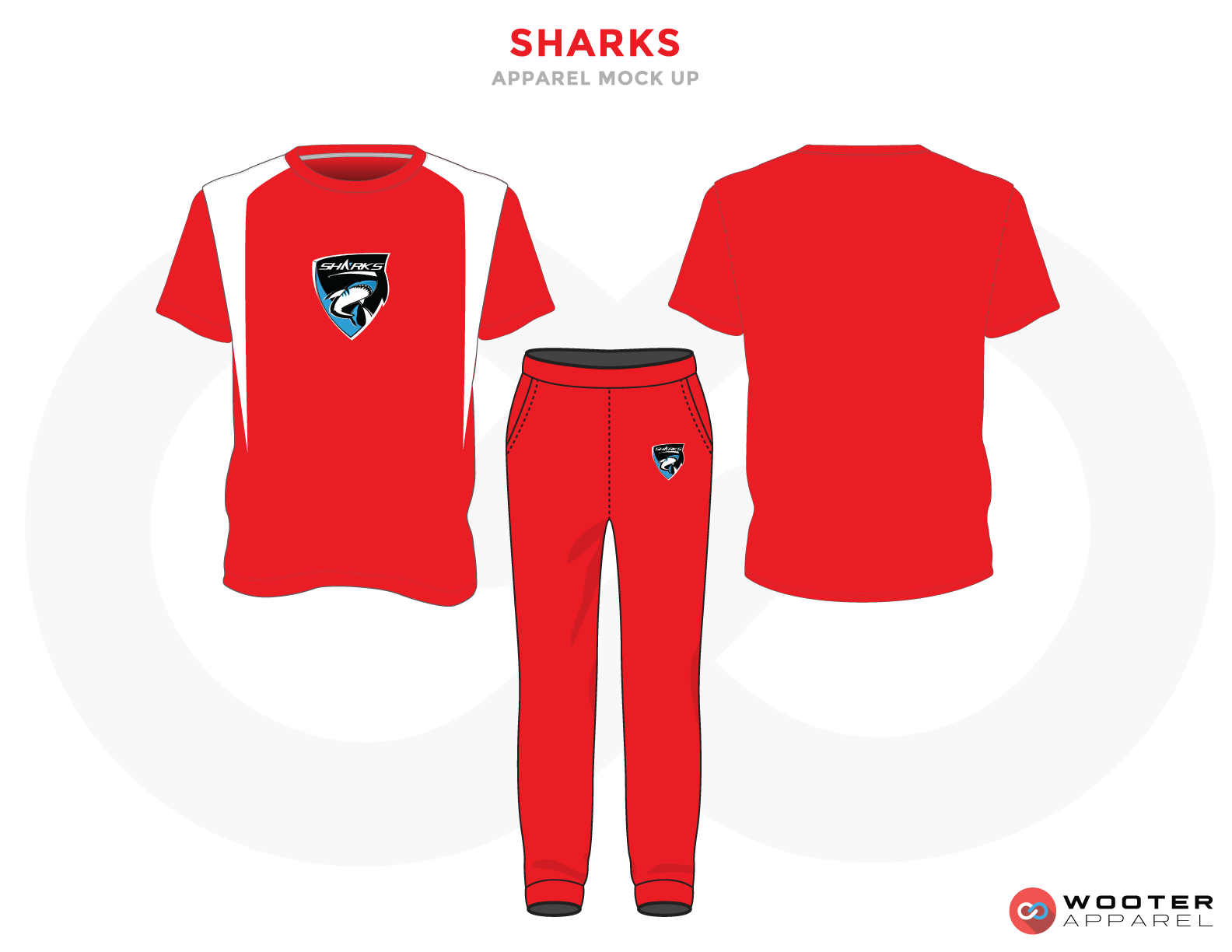 SHARKS White Red Blue and Black Baseball Uniforms, Jersey and Pants