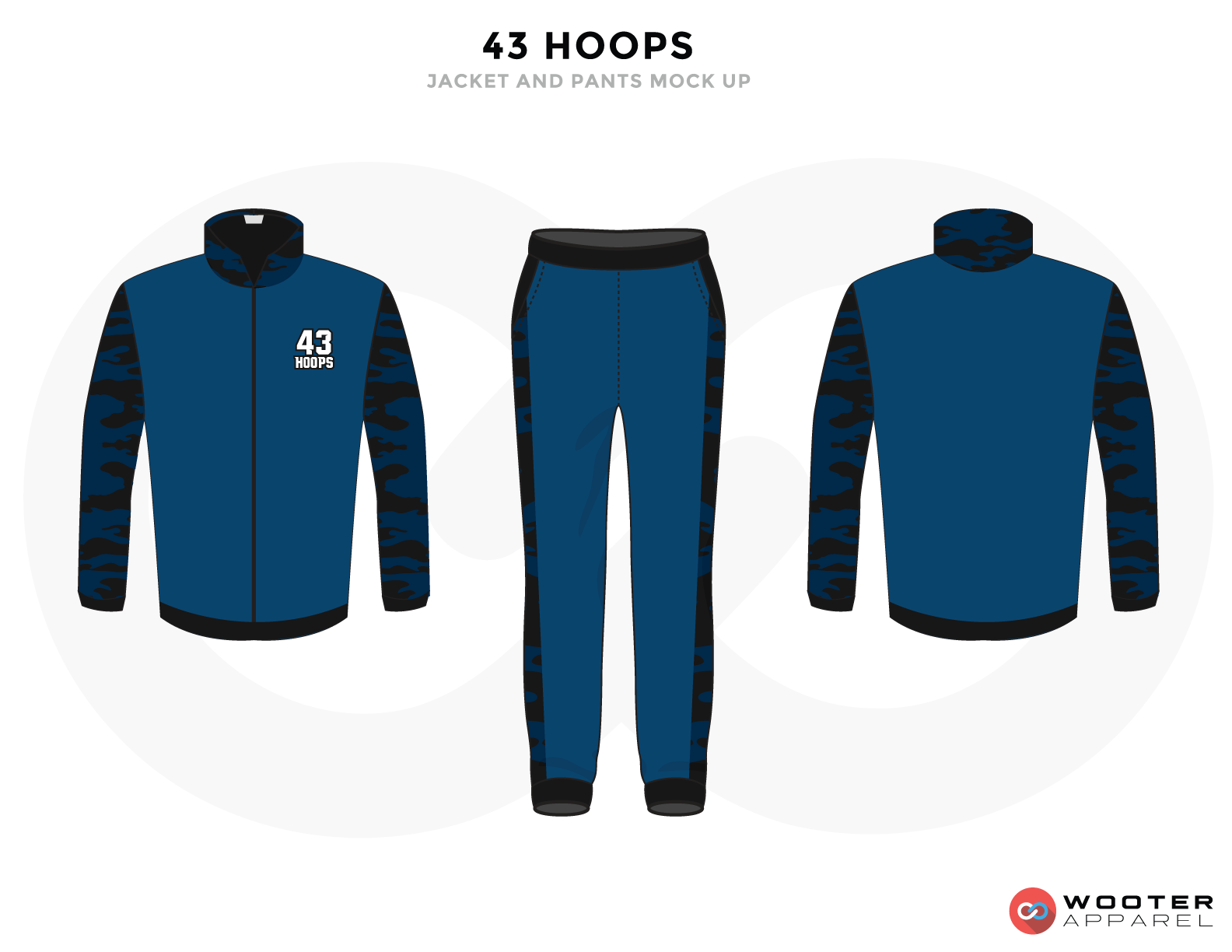 43 HOOPS Blue White and Black Baseball Uniforms, Jacket Jersey and Pants