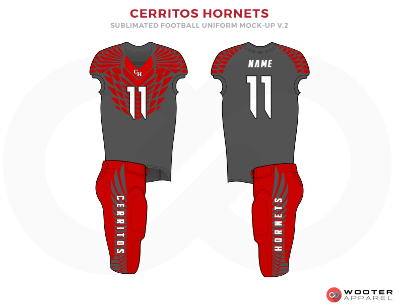 CERRITOS HORNETS Gray Red and White football uniforms jerseys pants