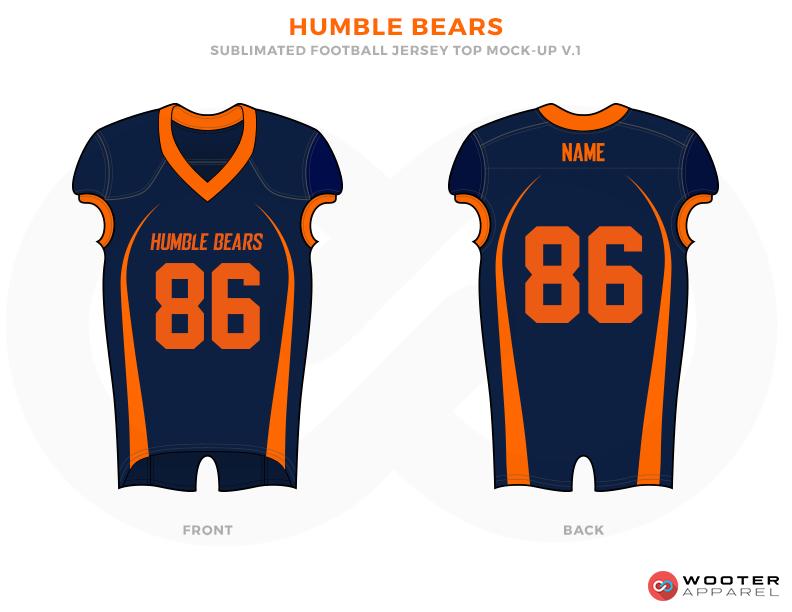HUMBLE BEARS Blue and Orange Baseball football uniforms jerseys shirts