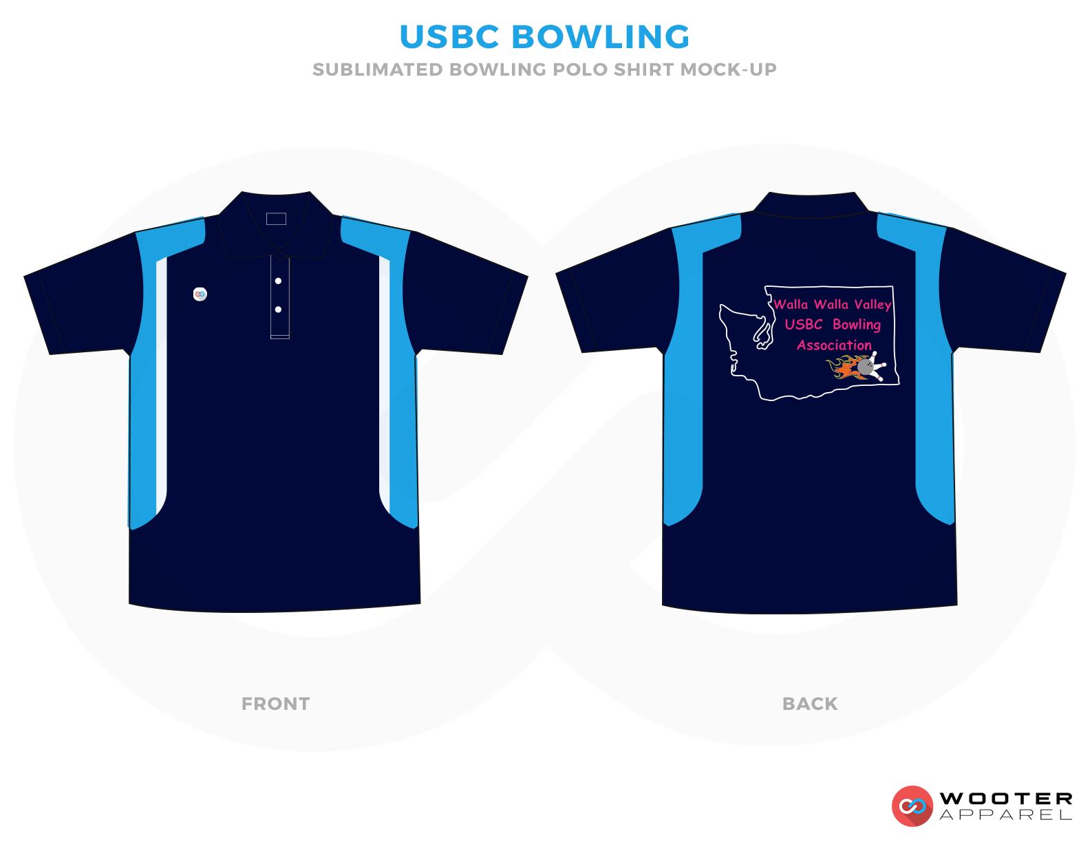 USBC BOWLING sky blue navy blue red bowling uniforms, shirts, quarter zip polo