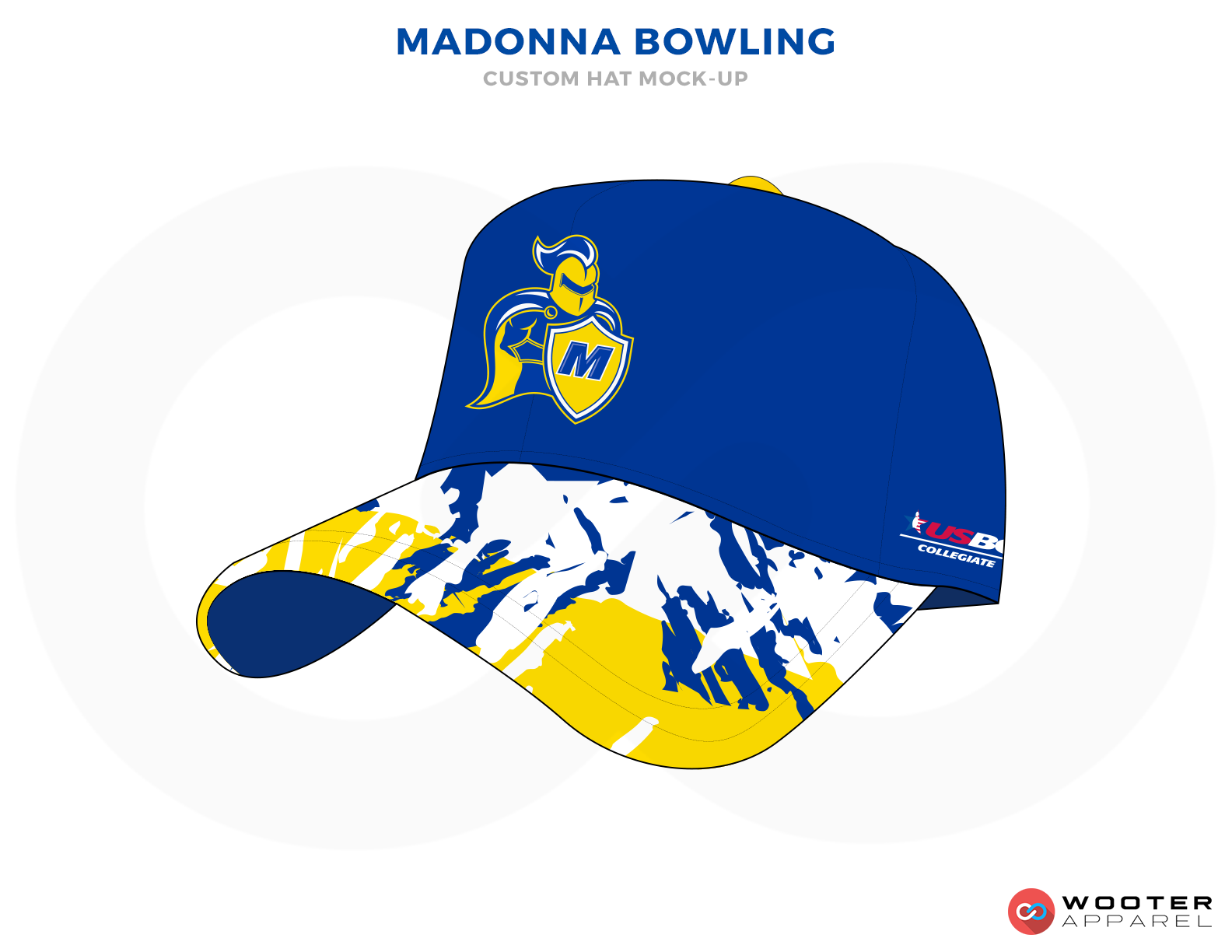 MADONNA BOWLING Blue Red Yellow and White custom bowling hat