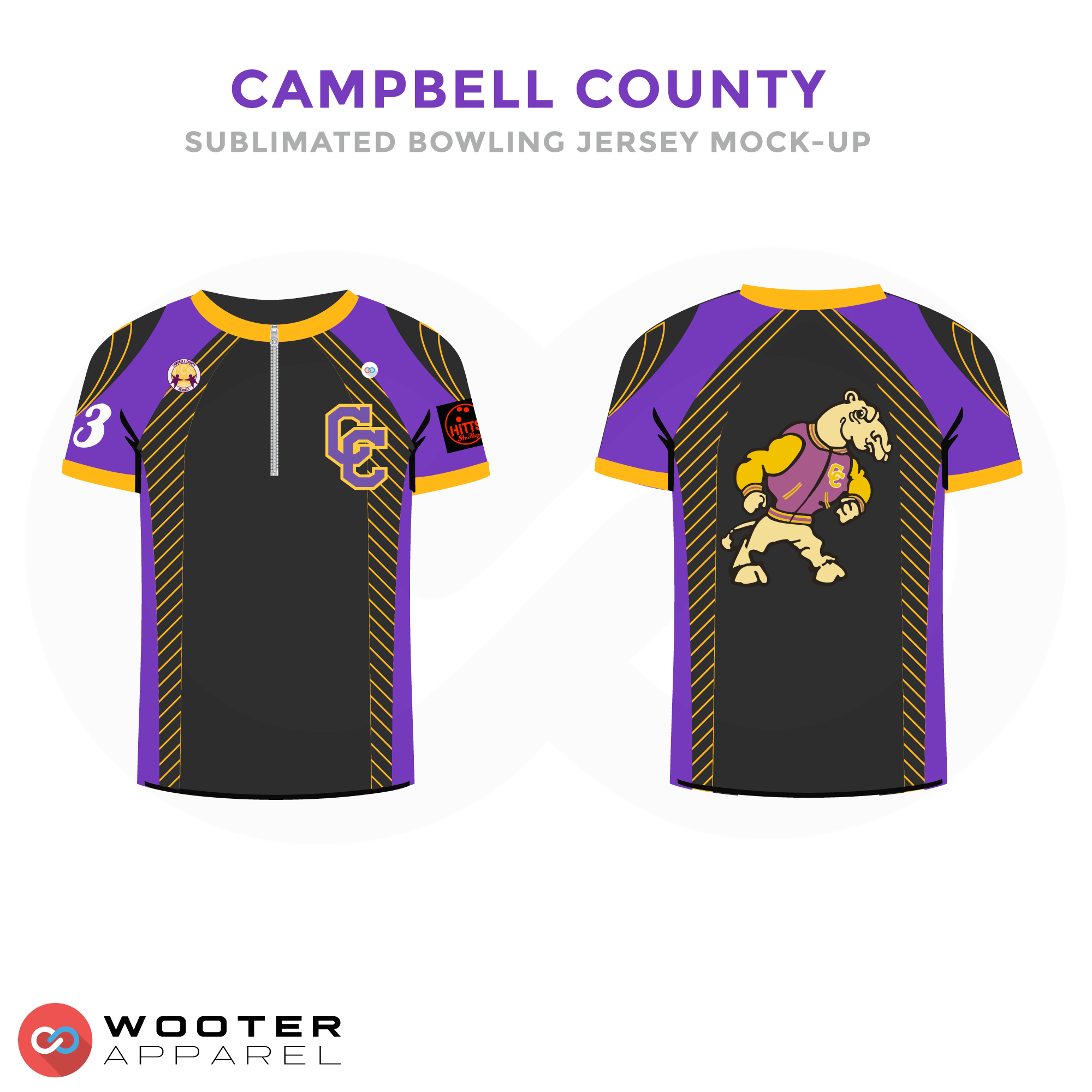 CAMPBELL COUNTY Purple Yellow Black and White bowling uniforms, shirts, quarter zip polo