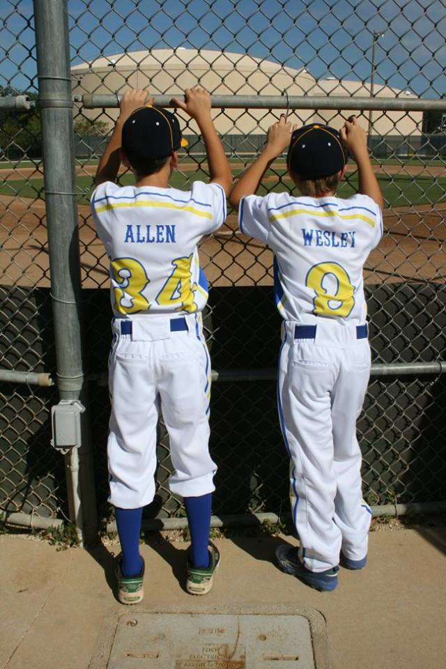 ALLEN White Yellow and blue Baseball Uniforms, Jersey and Pants