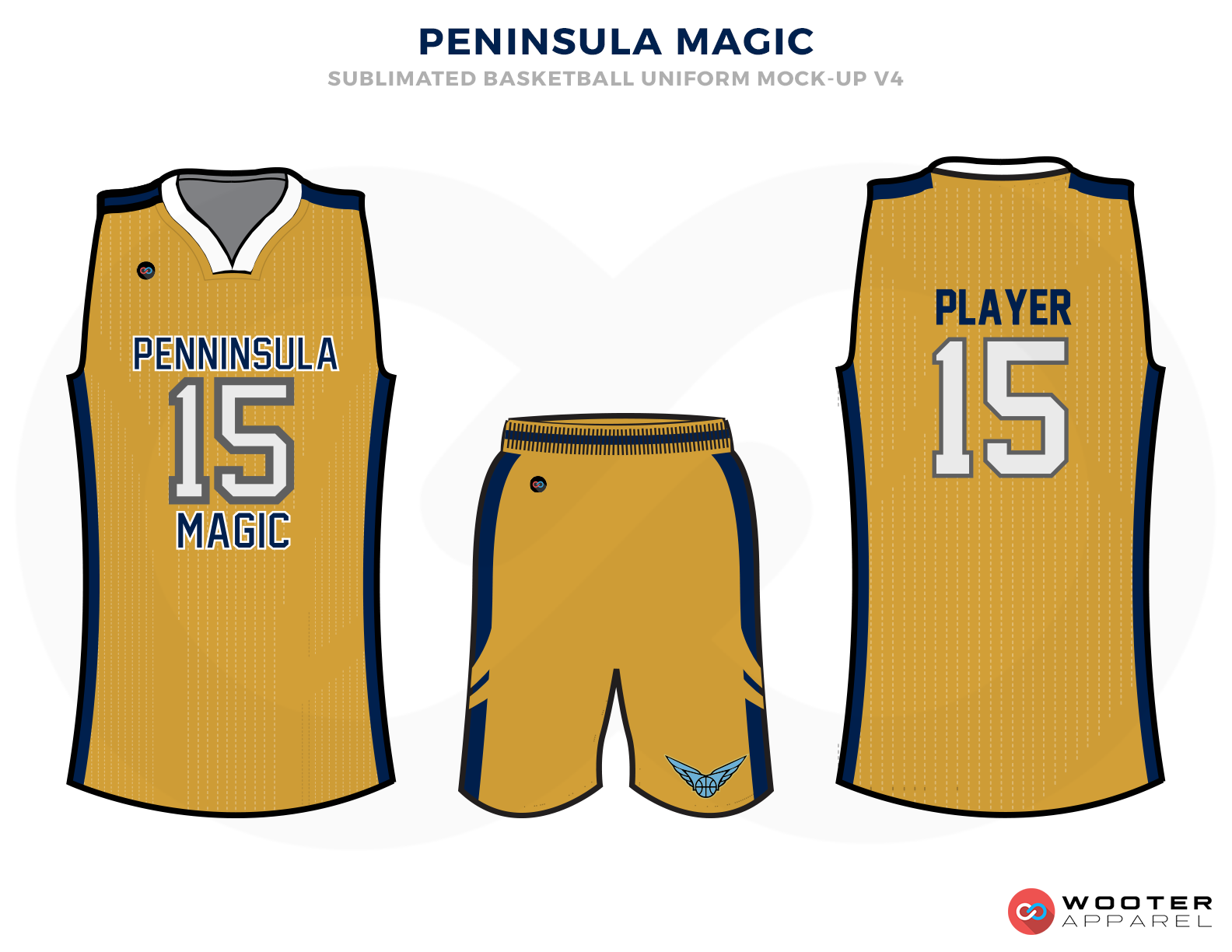 PENINSULE MAGIC Golden Blue and White Basketball Uniforms, Jersey and Shorts