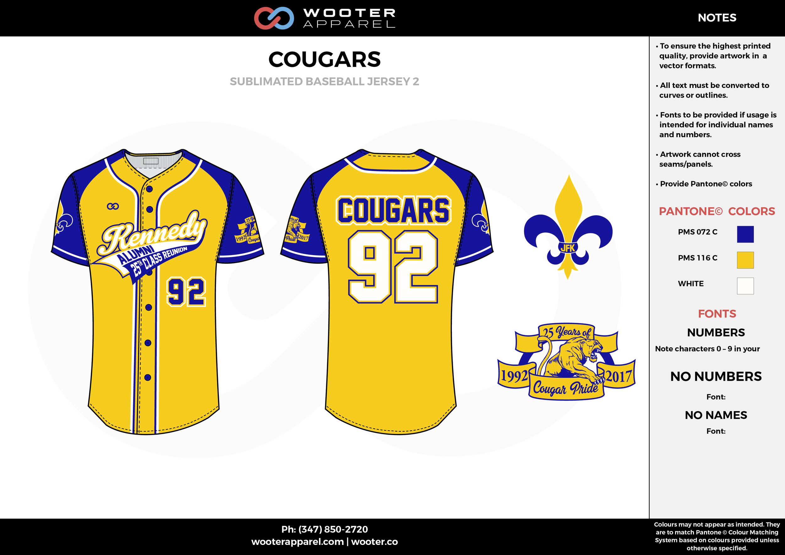 COUGARS yellow blue white School baseball uniforms jerseys tops