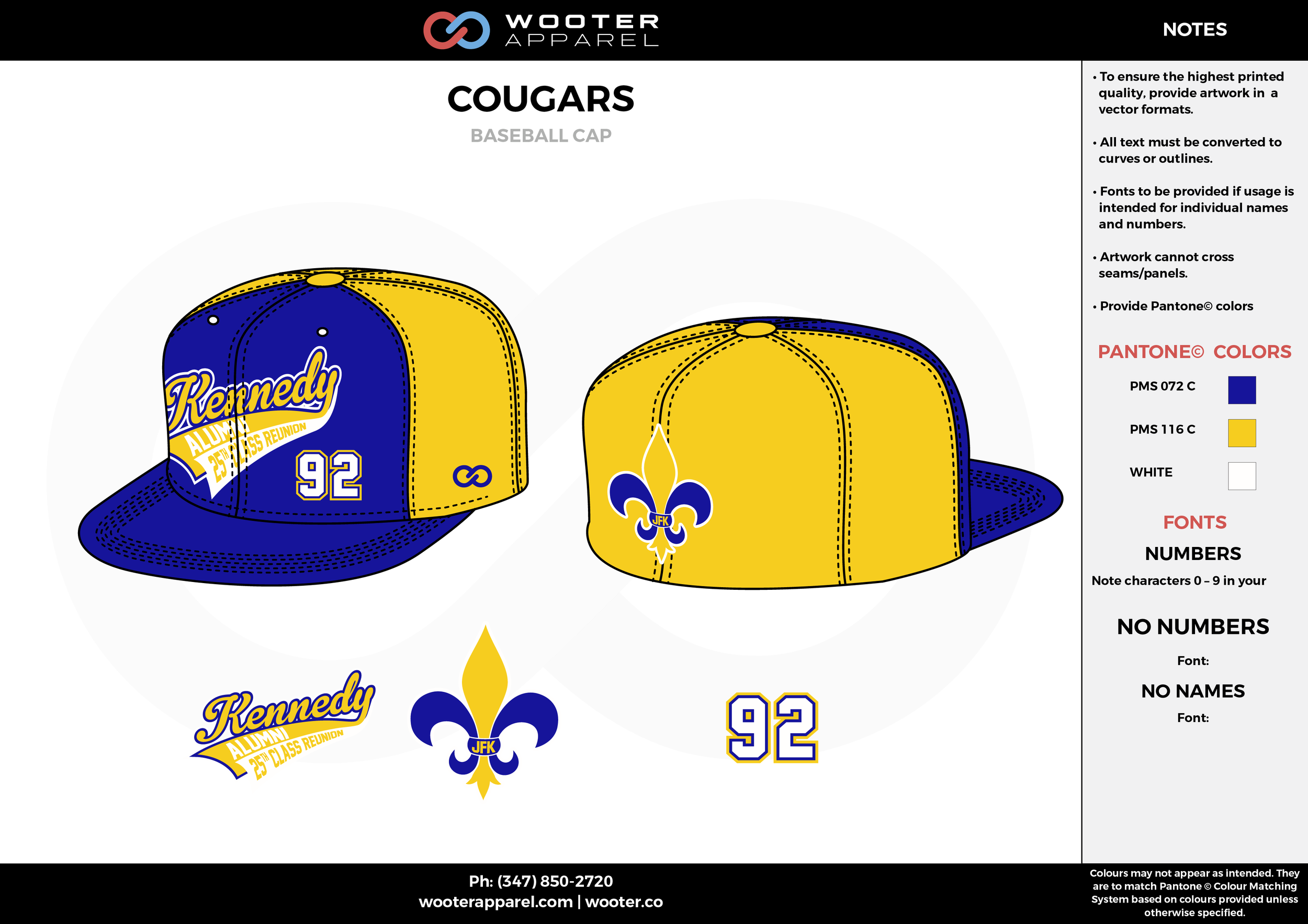 COUGARS yellow blue white School baseball caps