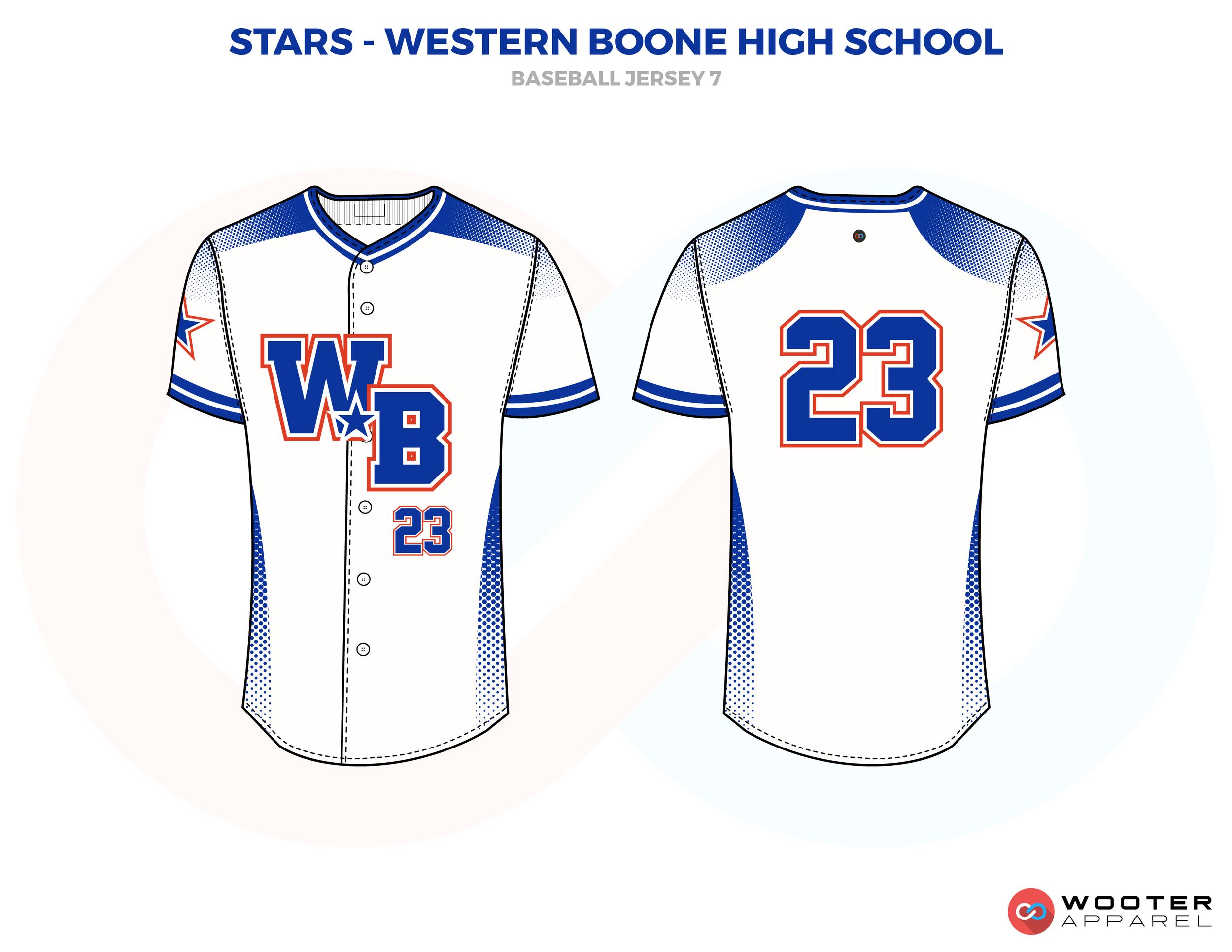 STARS- WESTERN BOONE HIGH SCHOOL white blue red School baseball uniforms jerseys tops