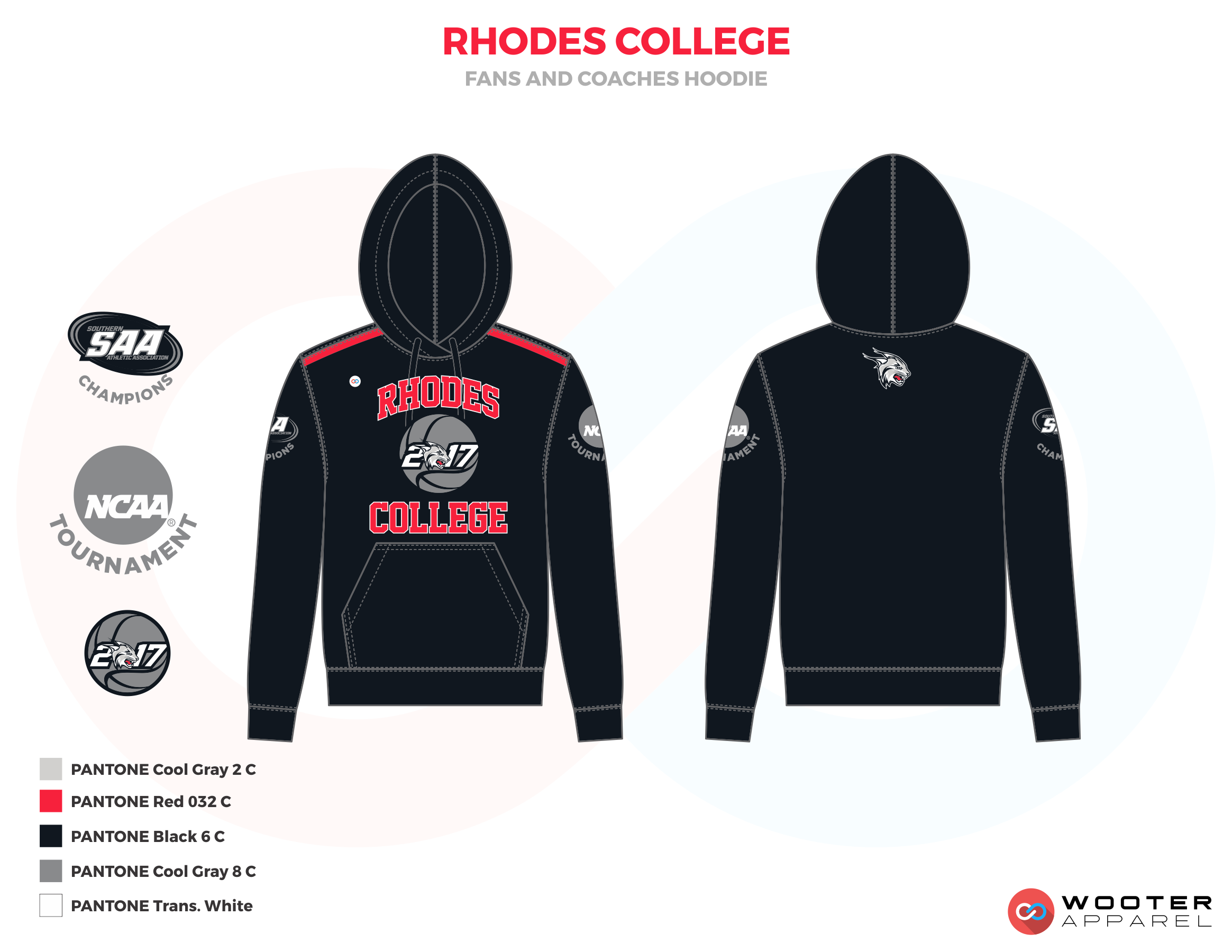 RHODES COLLEGE black red gray School coaches uniforms hoodie