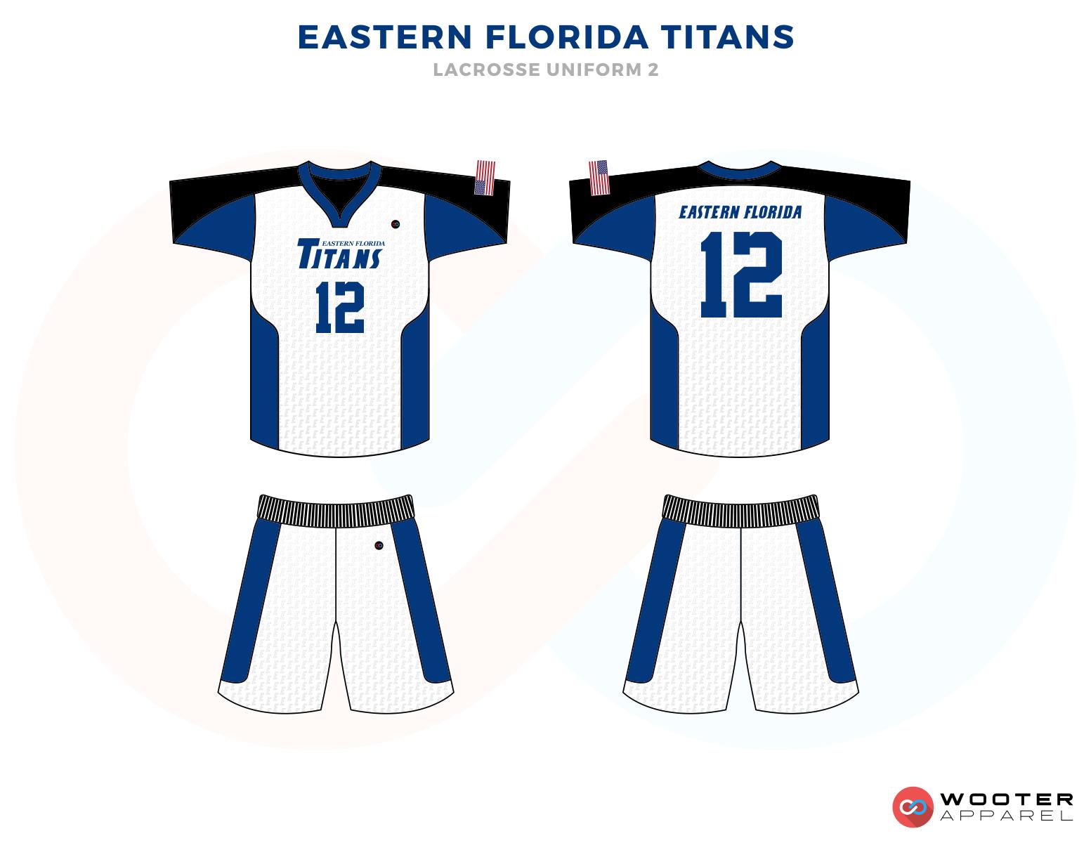 EASTERN FLORIDA TITANS blue white black School lacrosse uniforms jerseys tops shorts