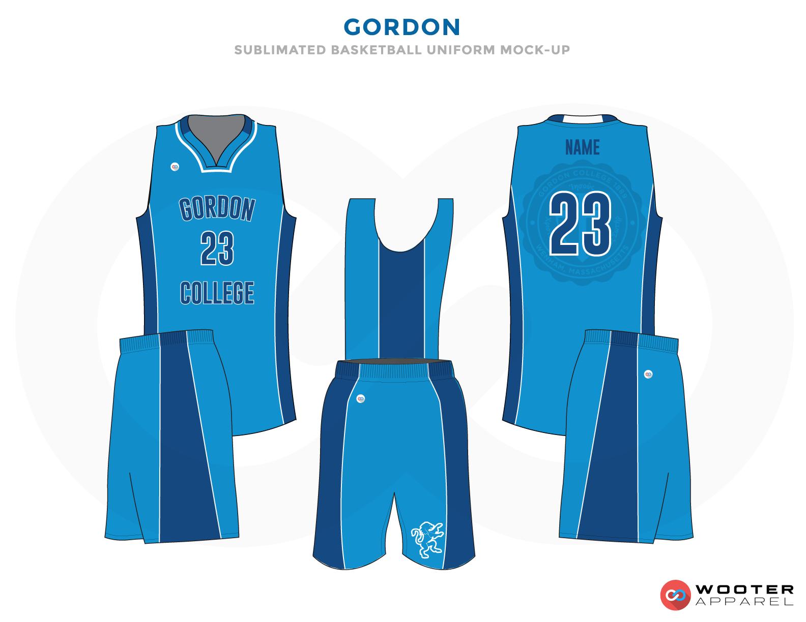 GORDON light blue dark blue white School basketball uniforms jerseys tops shorts