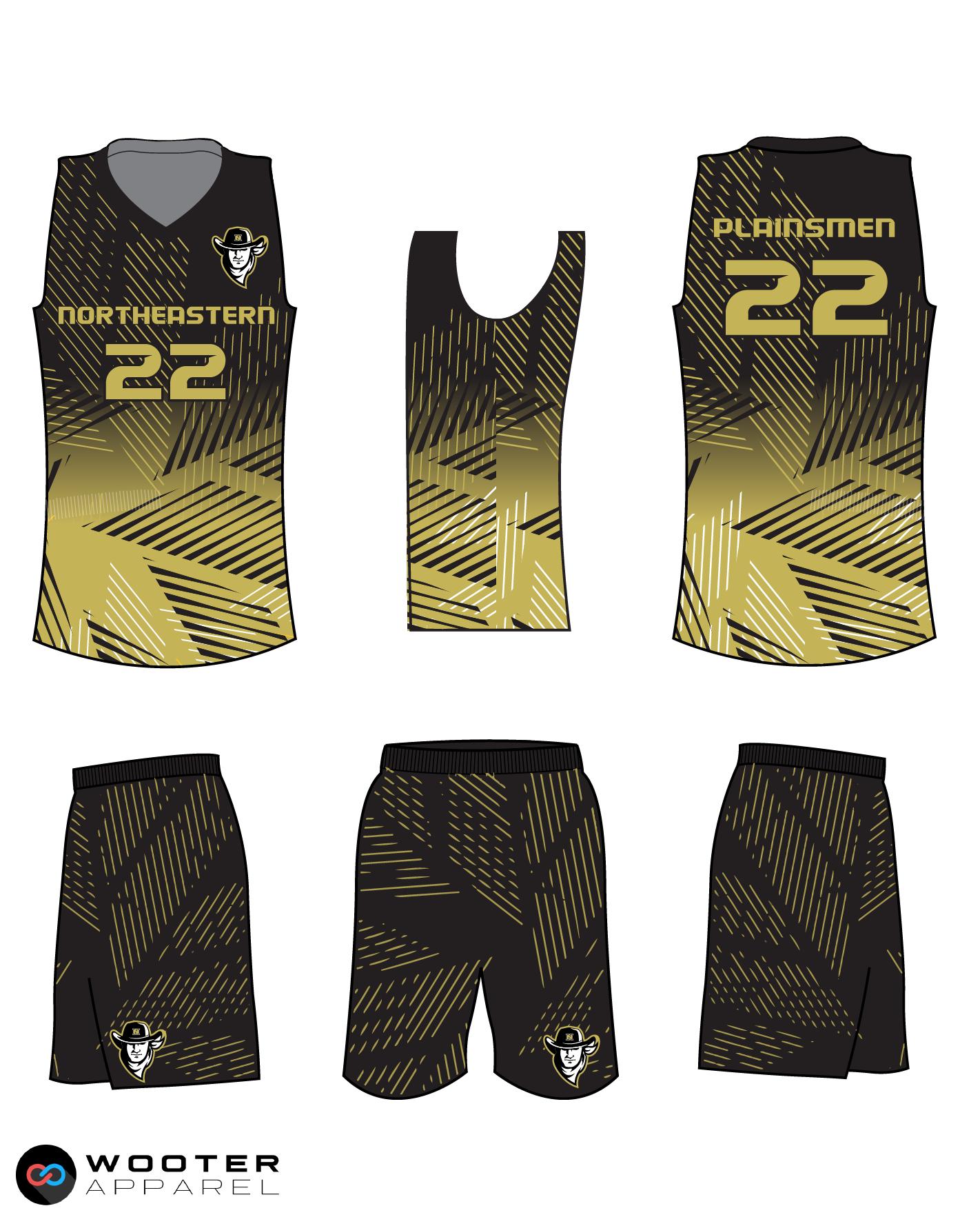 PLAINSMEN black gold white School basketball uniforms jerseys tops, shorts