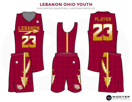 LEBANON OHIO YOUTH wine red yellow white School basketball uniforms jerseys tops, shorts