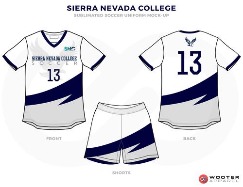 SIERRA NEVADA COLLEGE white blue gray School soccer uniforms jerseys tops, shorts