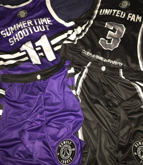 SUMMER TIME SHOOTOUT & UNITED FAM white black purple Youth Basketball Uniforms jerseys and shorts