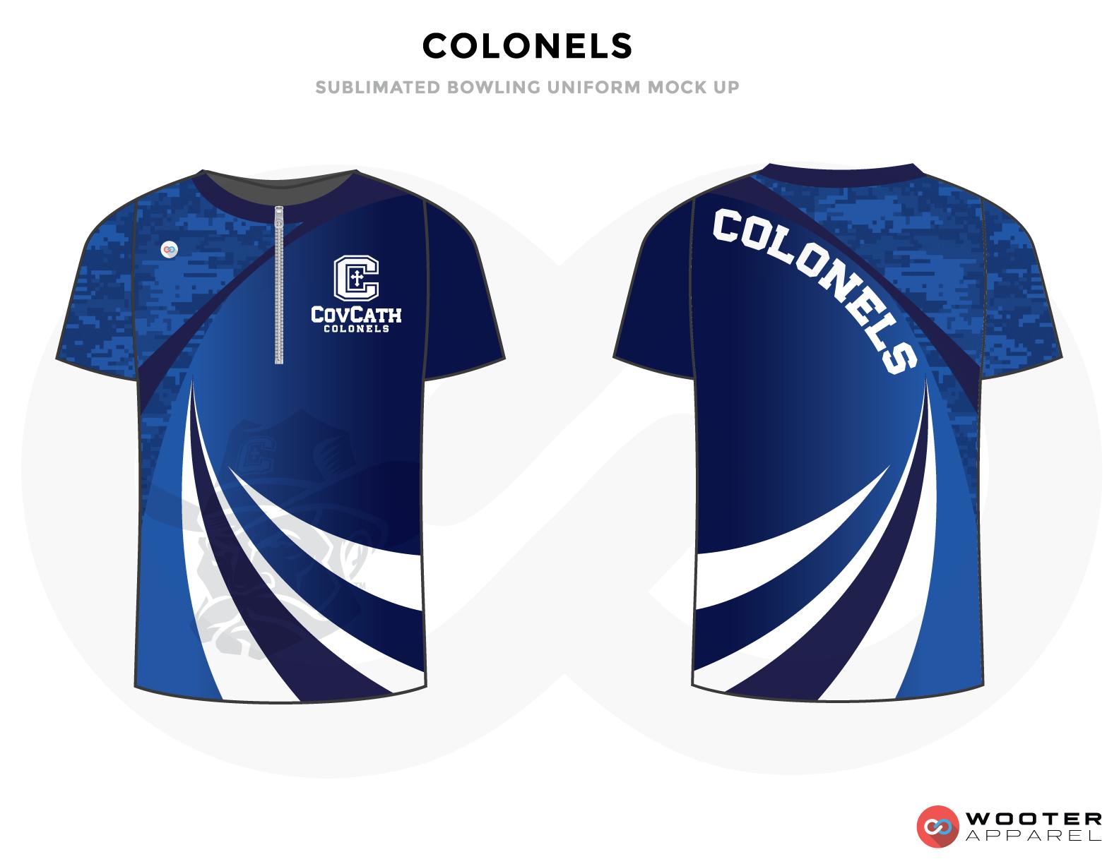 COLONELS blue white bowling uniforms, shirts, quarter zip polo