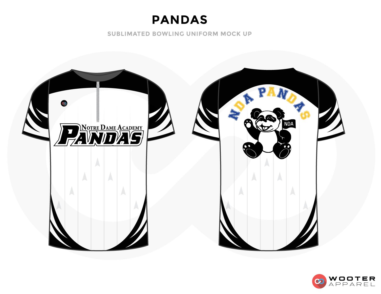 PANDAS white black blue yellow gray bowling uniforms, shirts, quarter zip polo