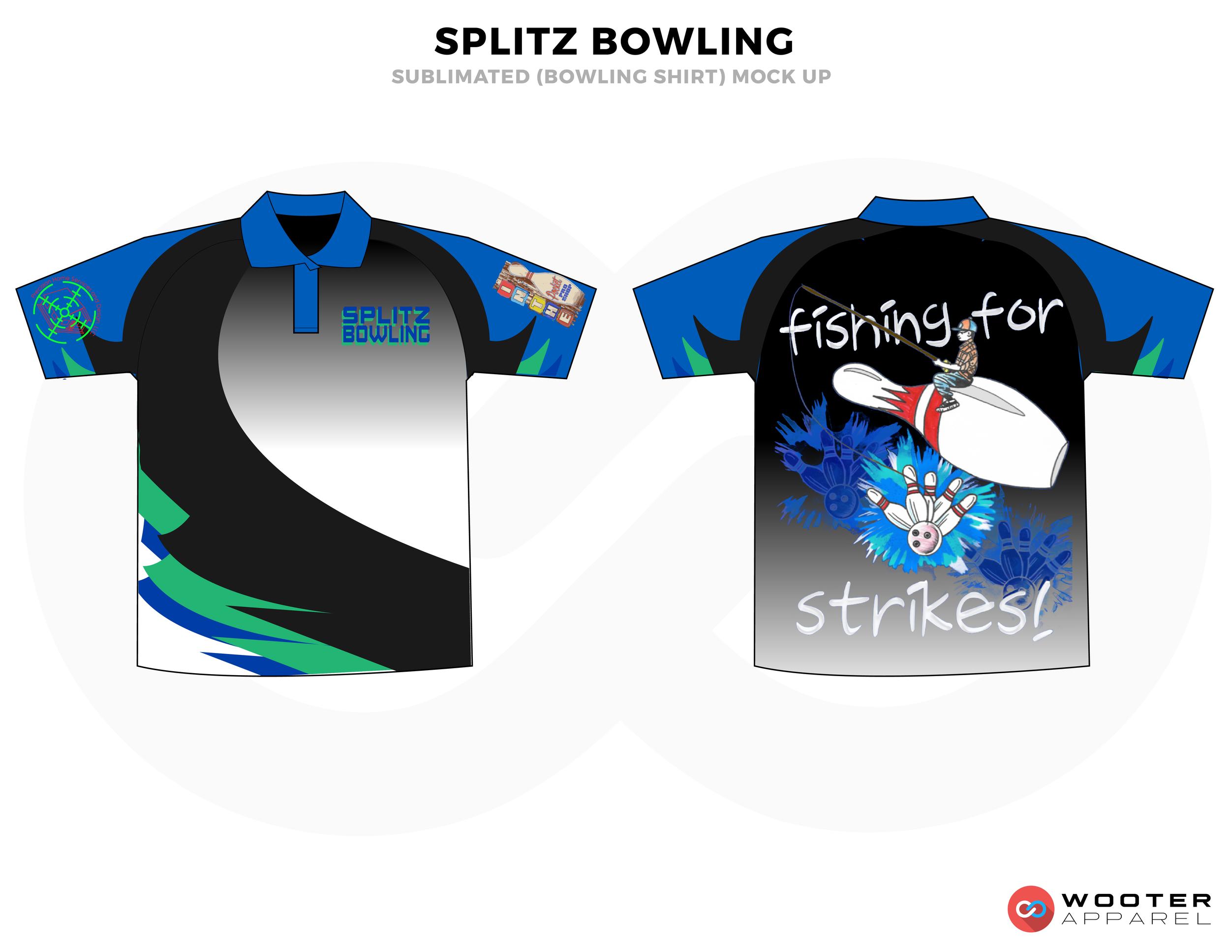 SPLITZ BOWLING blue white gray black green bowling uniforms, shirts, quarter zip polo