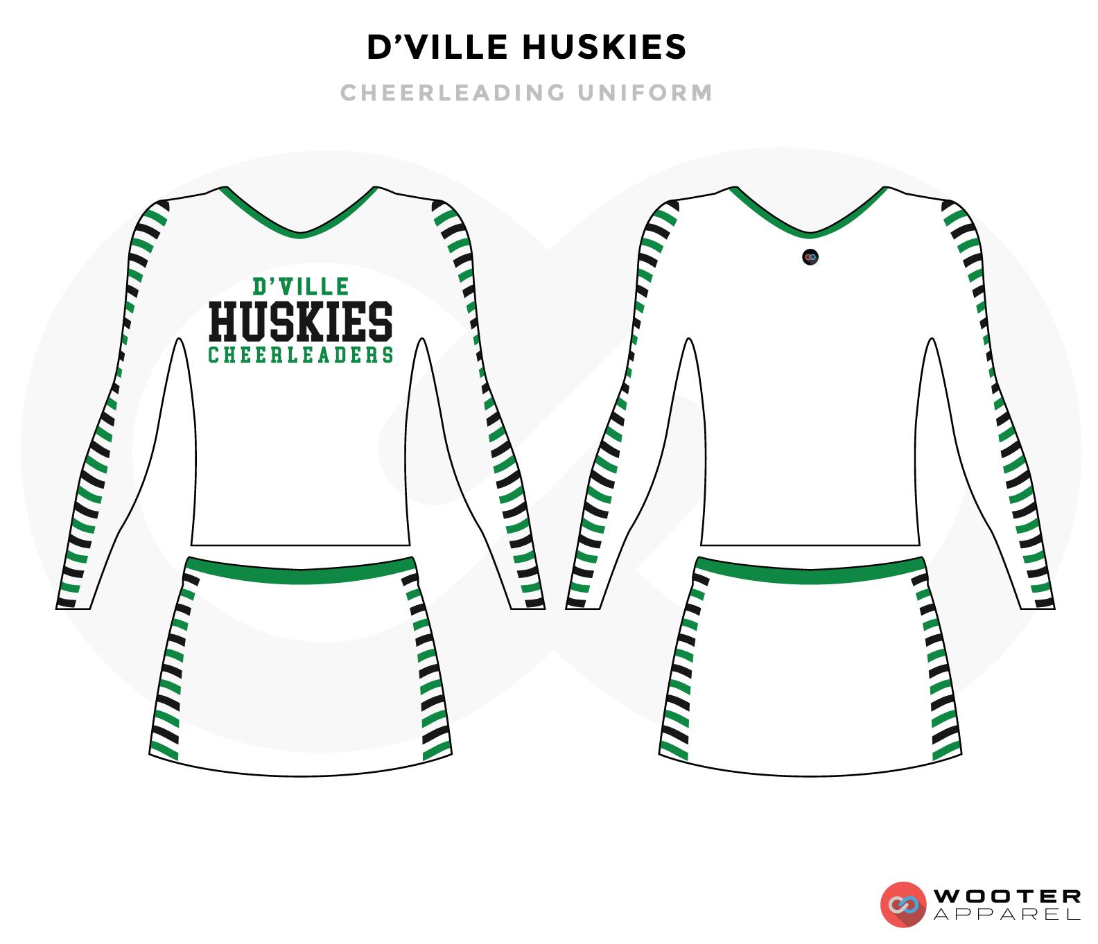 D'VILLE HUSKIES white green black cheerleading uniforms, top, and skirt