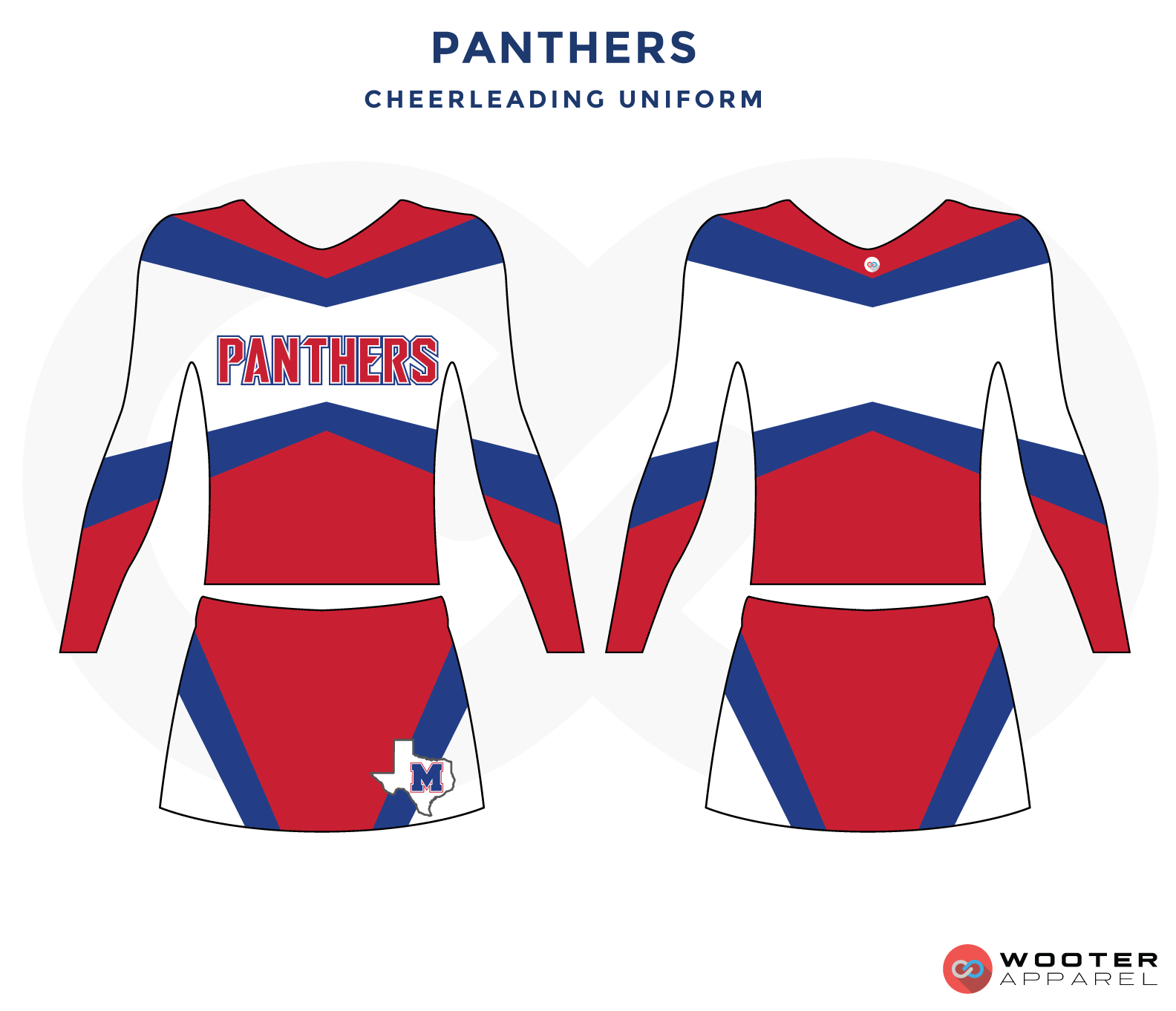 PANTHERS red white blue cheerleading uniforms, top, and skirt