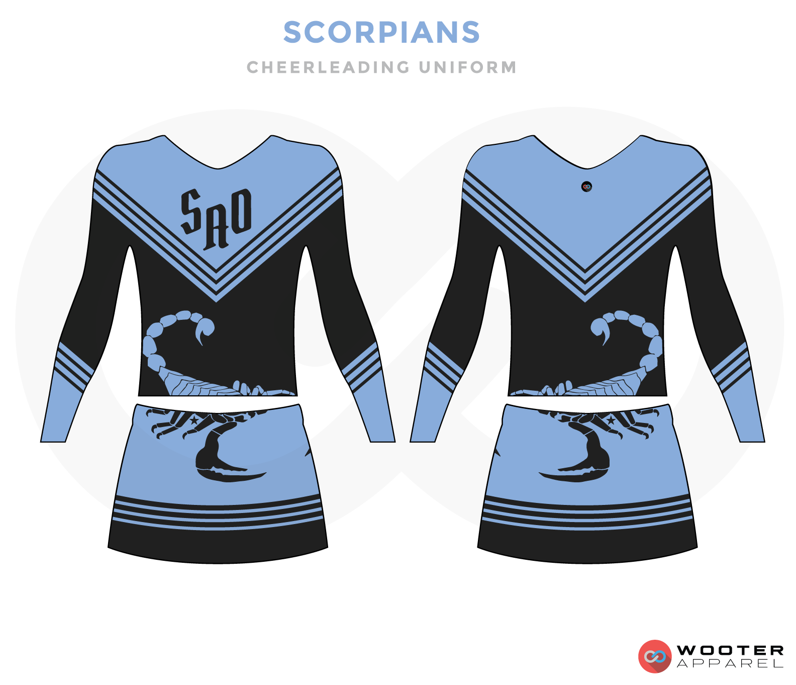 SCORPIANS black blue cheerleading uniforms, top, and skirt