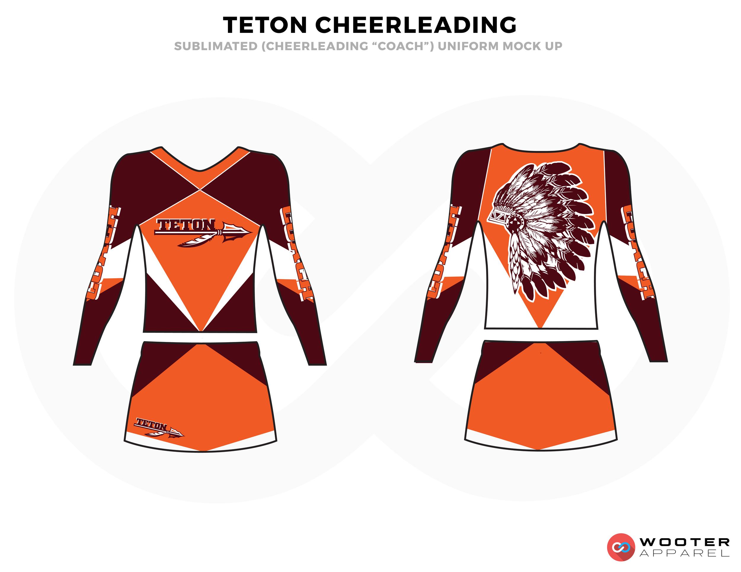 TETON maroon orange white cheerleading uniforms, top, and skirt