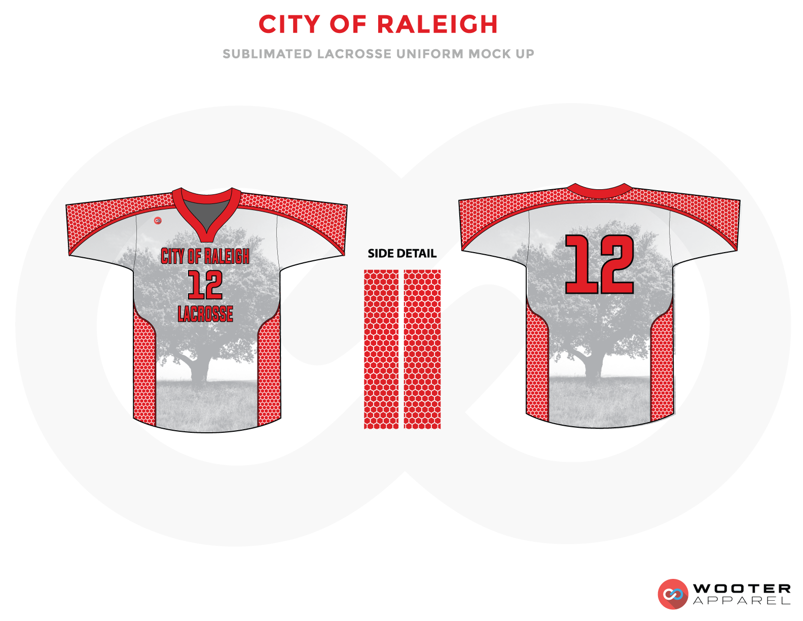 City Of Raleigh Red and Gray White Lacrosse Uniforms, Jerseys