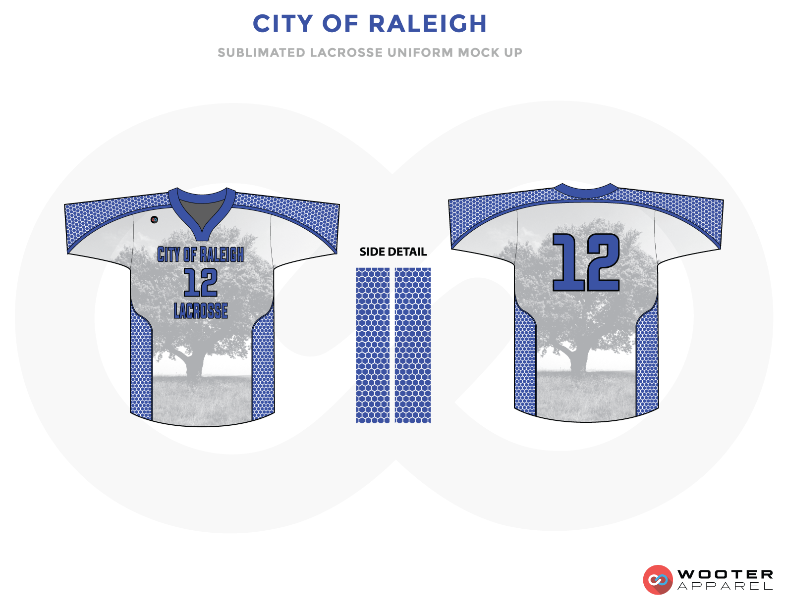 City Of Raleigh Blue and Gray White Lacrosse Uniforms, Jerseys