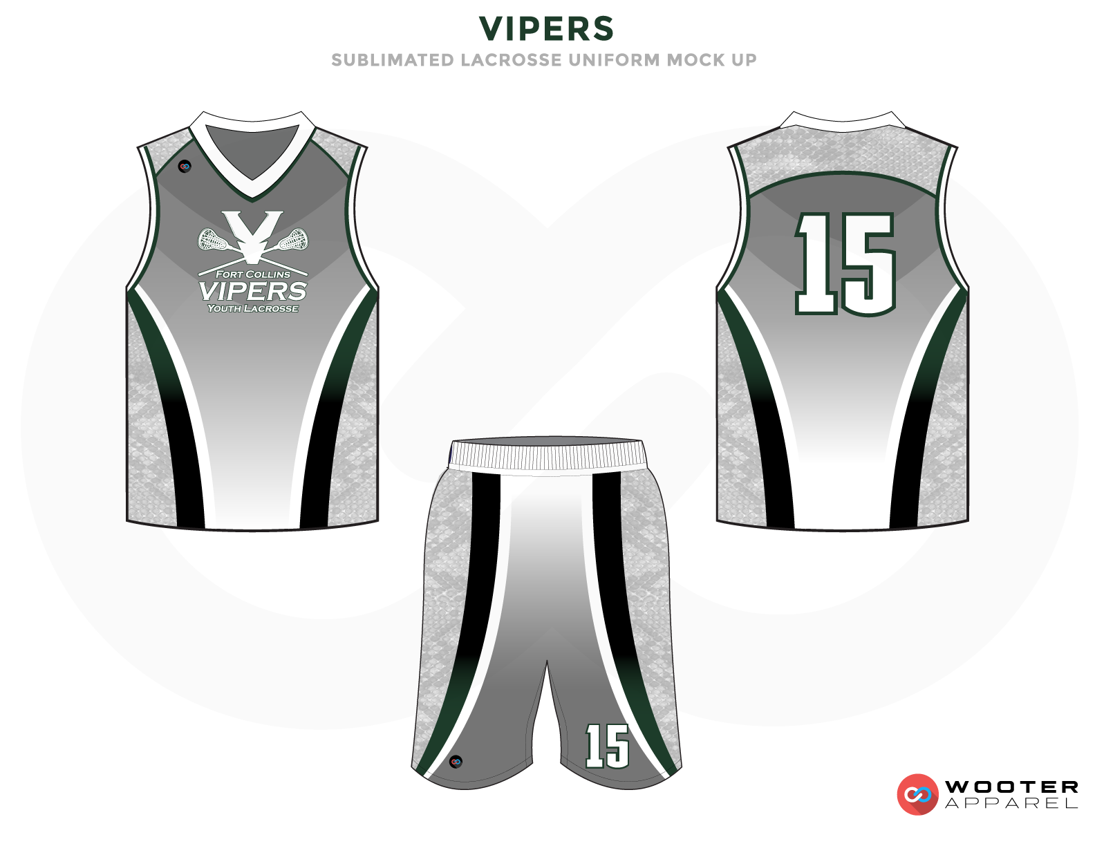 Vipers Grey Black and White Lacrosse Uniforms, Reversible Pinnies, Jerseys, Shorts