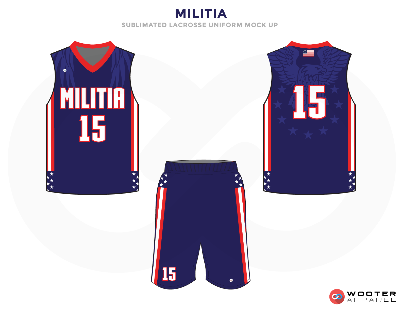 Militia Blue Red and White Lacrosse Uniforms, Reversible Pinnies, Jerseys, Shorts