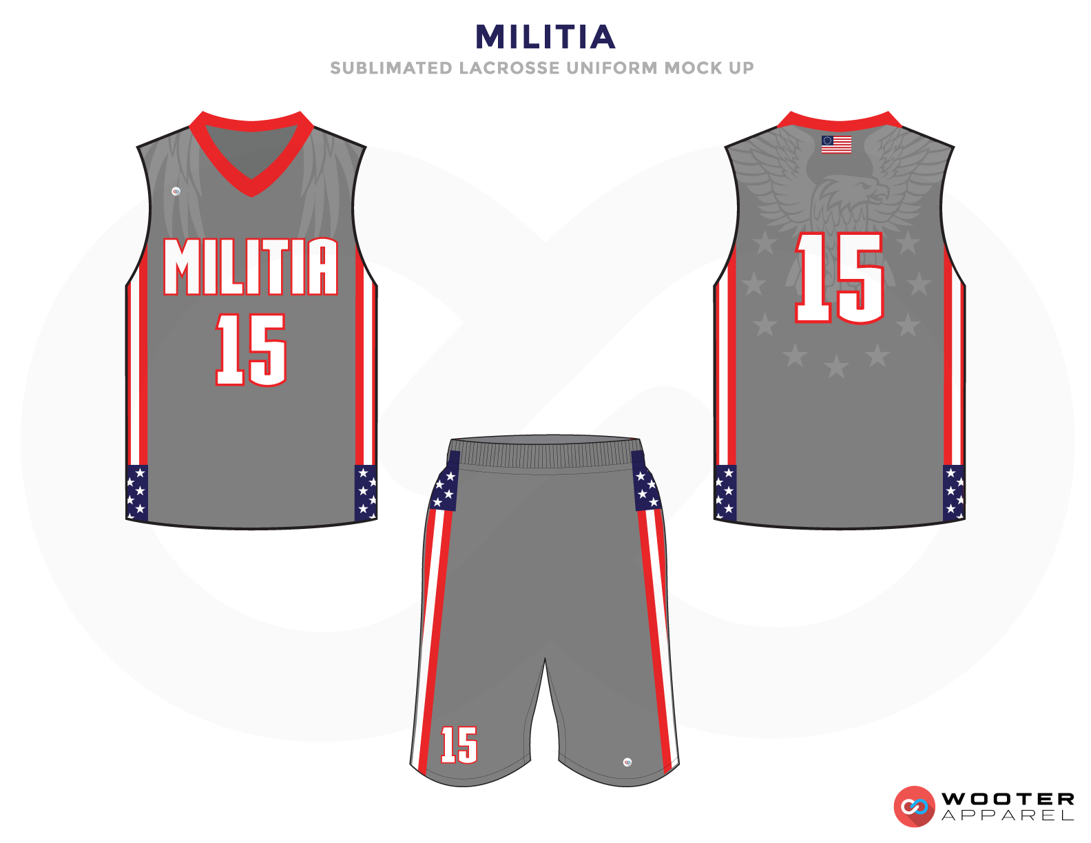 Militia Blue Red Grey and White Lacrosse Uniforms, Reversible Pinnies, Jerseys, Shorts