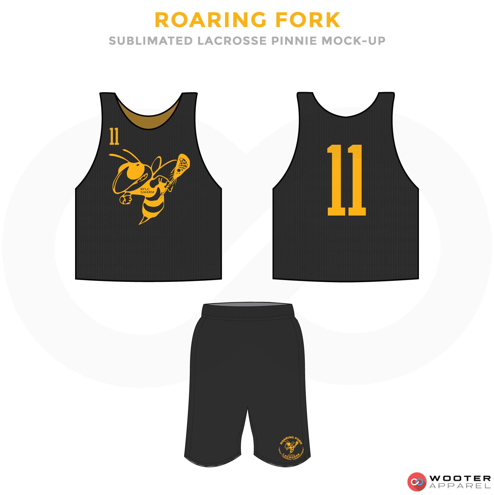 Roaring Fork Black and Yellow Lacrosse Uniforms, Reversible Pinnies, Jerseys, Shorts