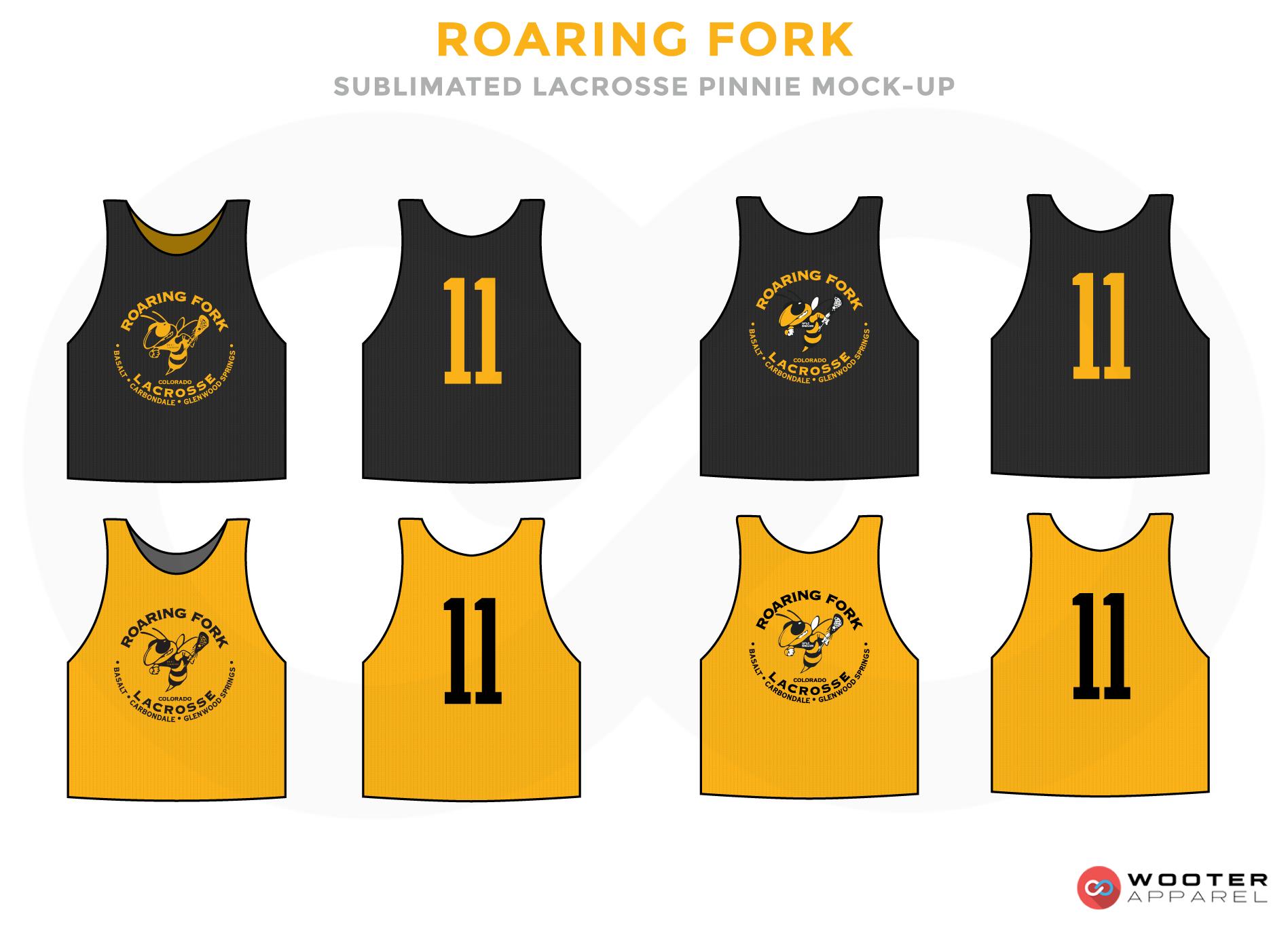 Roaring Fork Black and Yellow Lacrosse Uniforms, Reversible Pinnies, Jerseys